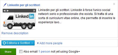 Condivisione contenuti su Google+