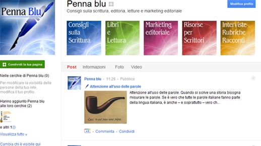 Penna blu su Google+
